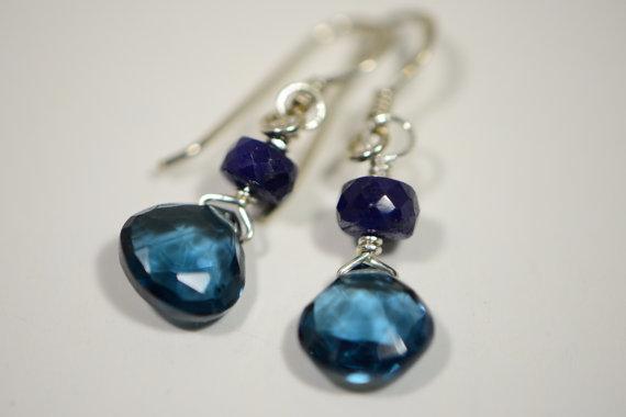 London Blue Topaz Earrings Natural Sapphire Sterling silver Jewelry Birthstone Gemstone Earrings