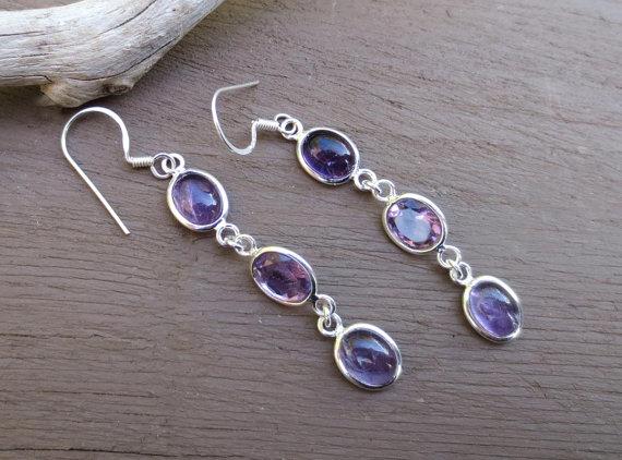 Long Amethyst Silver Earrings, Purple Amethyst Gemstone Earrings, Dangle Earrings, Amethyst Jewelry