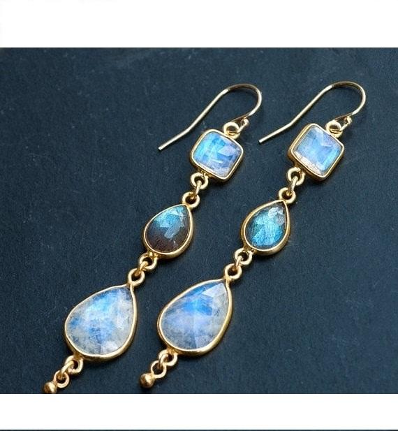 Long Rainbow Moonstone and Labradorite Earrings - Geometric Earrings - Gemstone Earrings - Dangle Earrings - Gold Earrings