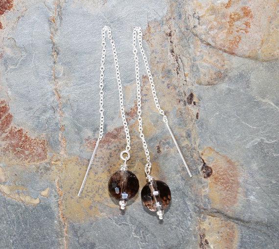 Long Smoky Quartz Earrings, Sterling Silver Threader Earrings, Gray Earrings, Natural Stone Earrings, Long Earrings, Gemstone Earrings