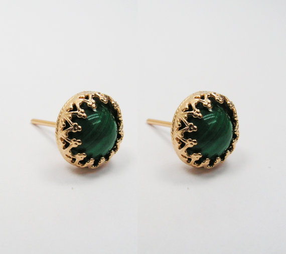 Malachite earrings. Gold gem earrings. gift for her, stud earrings, gem stud earrings. Gold green earrings. Gold posts. Gold studs