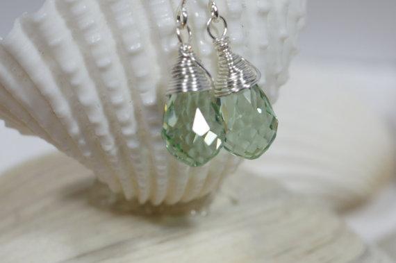 Minty Green Drop Earrings Wire Wrapped Earrings Crystal Earrings Teardrop Earrings Briolette Earrings