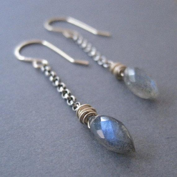 Mixed Metal Jewelry, Labradorite Dagger Earrings, Silver Gold Dangles, Gemstone Earrings,