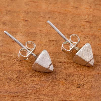 Modern Sterling Silver Stud Earrings