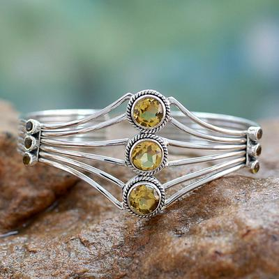 Modern Sterling Silver and Faceted Citrine Cuff Bracelet