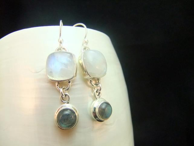 Moonstone & Labradorite Gemstone Sterling Silver Earrings Inspired by Snowdonia