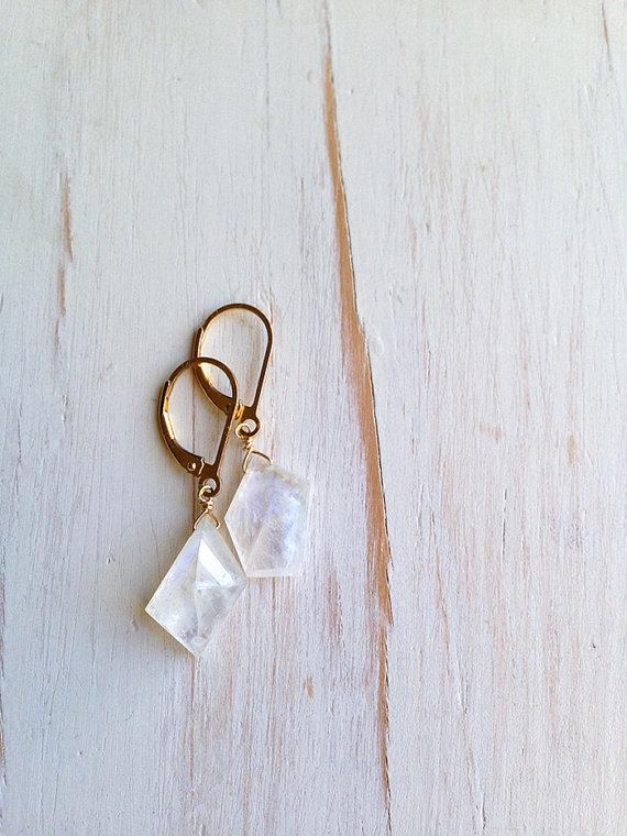 Moonstone Earring Faceted Slab Moonstone Drops Moonstone Jewelry Gemstone Jewelry