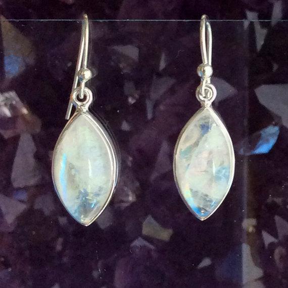 Moonstone Earrings Moonstone Jewelry Rainbow Moonstone Gemstone Earrings Gemstone Jewelry Celestial Jewelry Drop Earrings