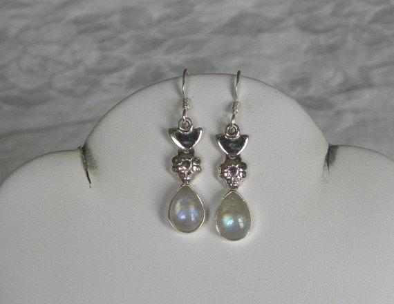 Moonstone Earrings Handmade Dangling Rainbow Gemstone Earrings Sterling Silver Earrings Women's Moonstone Jewelry Bridal