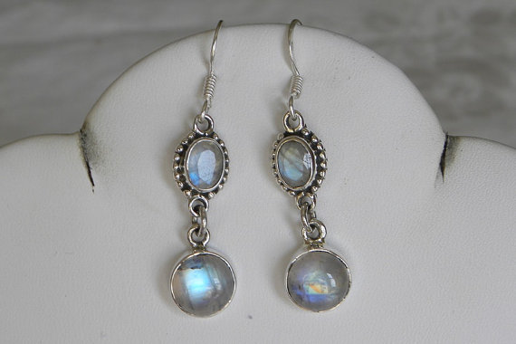 Moonstone Earrings Stunning Handmade Earrings Blue Semiprecious Gemstone Sterling Silver Earrings Women's Moonstone Jewelry