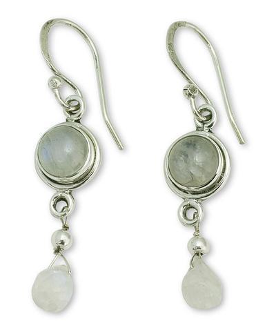 Moonstone Earrings in Sterling Silver Handmade in India, 'Shimmer'