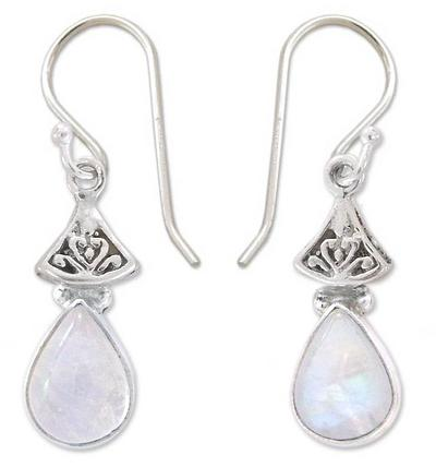 Moonstone Earrings in Sterling Silver from India, 'Misty Morn'