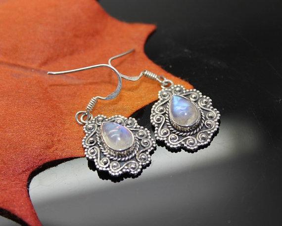 Moonstone Earrings, Sterling Silver Earrings, Gemstone Earrings, Mothers Day Gift