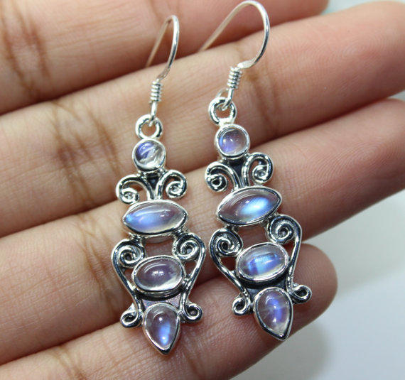Moonstone Earrings, Sterling Silver Earrings, Gemstone Earrings