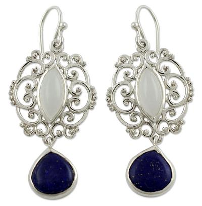 Moonstone Lapis Lazuli and Silver Earrings from India, 'Simply Sumptuous'