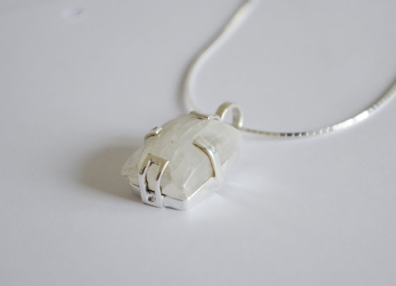Moonstone Necklace - Silver Necklace - Gemstone Necklace - Prong Set Necklace - Moonstone Pendant