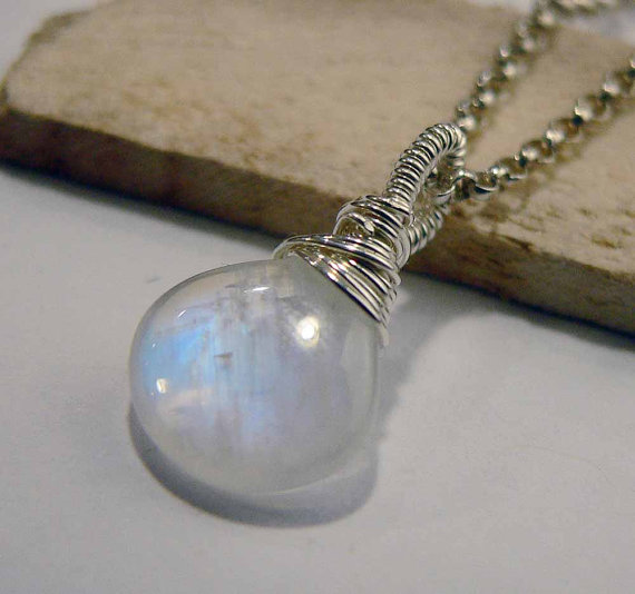 Moonstone Pendant, Rainbow Moonstone, Sterling Silver, Moonstone Necklace, Silver, Wire Wrapped, Gemstone Pendant