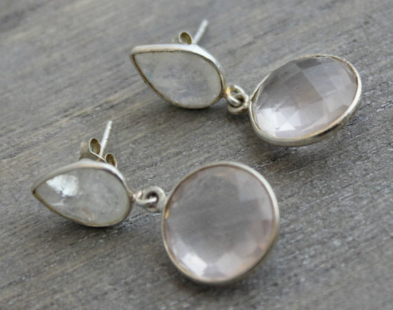 Moonstone Rose Quartz Drop Earrings - Gifts for her - Wedding Jewellery - Gemstone Earrings - Sterling Silver Earrings - Pink Stone