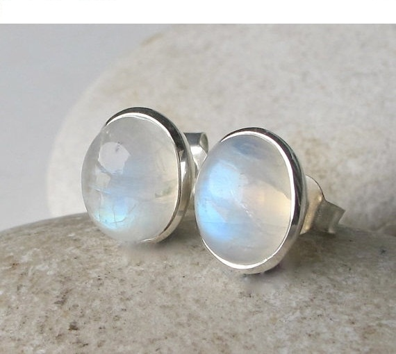 Moonstone Stud Earring Earrings Rainbow Silver