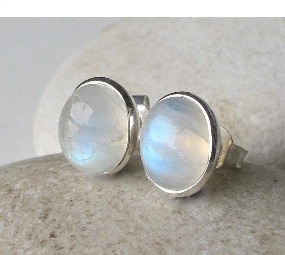 Moonstone Stud Earring- Stud Earrings- Rainbow Moonstone Earrings- Silver Stud Earrings- Rainbow Moonstone Studs- Stone Stud