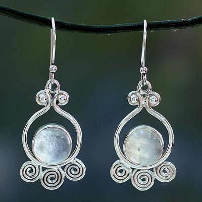 Moonstone dangle earrings, 'Shimmer'