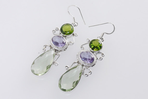 Multi Quartz Earring ,Handmade Gemstone Jewelry With Sterling Silver Metals