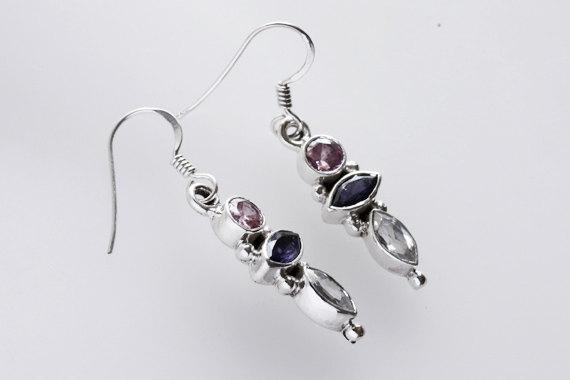 Multi Stone Earring, 925 Sterling Silver Earring Handmade Gemstone Jewelry
