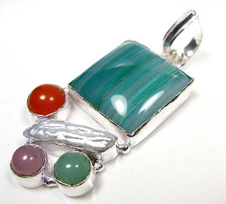 Multi Stone Silver pendant