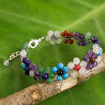 Multicolored Gemstone Bead Bracelet with Floral Motif