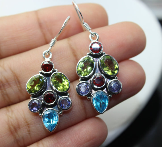 Multistone Earrings, Sterling Silver Earrings, Gemstone Earrings