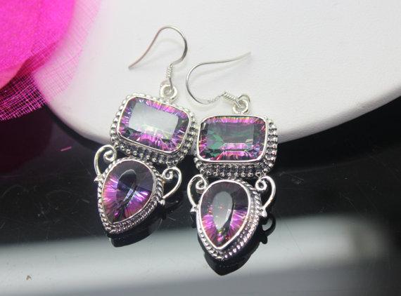 Mystic Topaz Earrings, Sterling Silver Earrings, Gemstone Earrings
