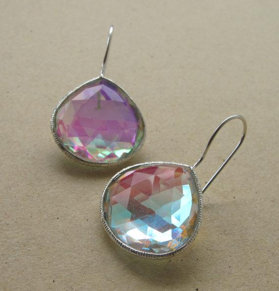 Mystic Topaz Earrings- Sterling Silver Mystic Topaz Earrings- Topaz Silver Earrings- Dangle Earrings- Silver Stone Earrings-Gemstone Earring