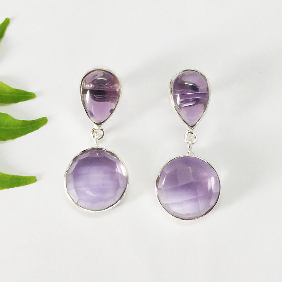 NATURAL PURPLE AMETHYST Gemstone Earrings - Birthstone Earrings - Fashion Beach Earrings - Handmade Earrings - Drop Earrings