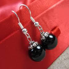 Natural Black Bead earrings