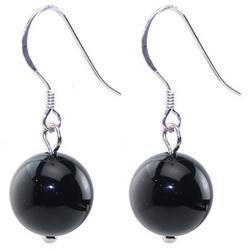 Natural Black Onyx Gemstone Bead earrings
