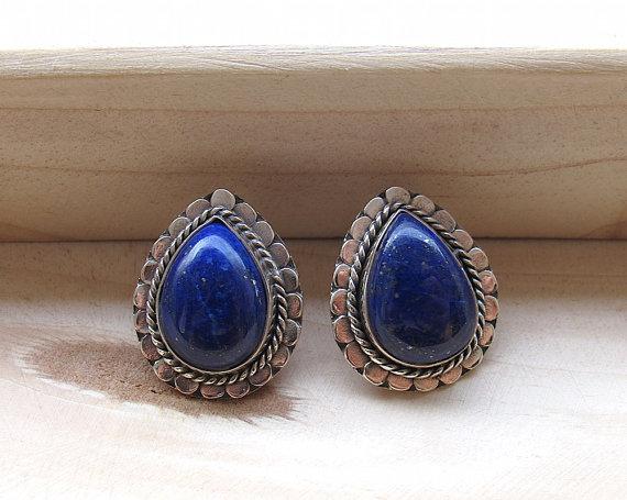 Natural Blue Lapis Stud Earrings, Oxidized Sterling Silver Stud Earrings, Gemstone Earrings - Bridesmaid Gifts
