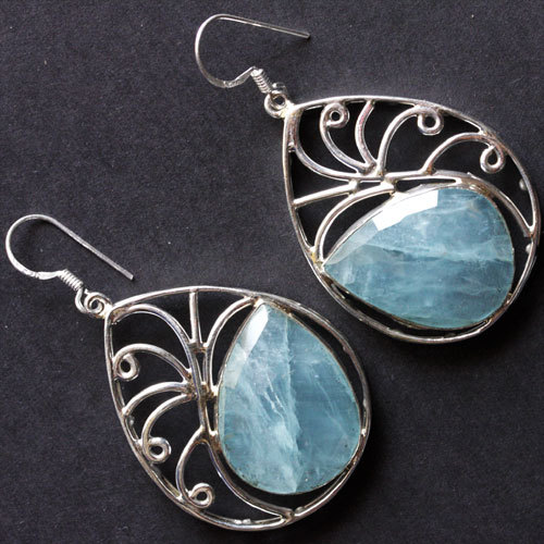 Natural Brazilian Aquamarine Gemstone Earrings 925 Sterling Silver Handmade Jewelry
