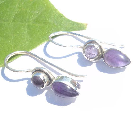 Natural Cab Amathyst Gemstone Earrings Birthstone Earrings Bezel Set Handmade Earrings Designer Earrings