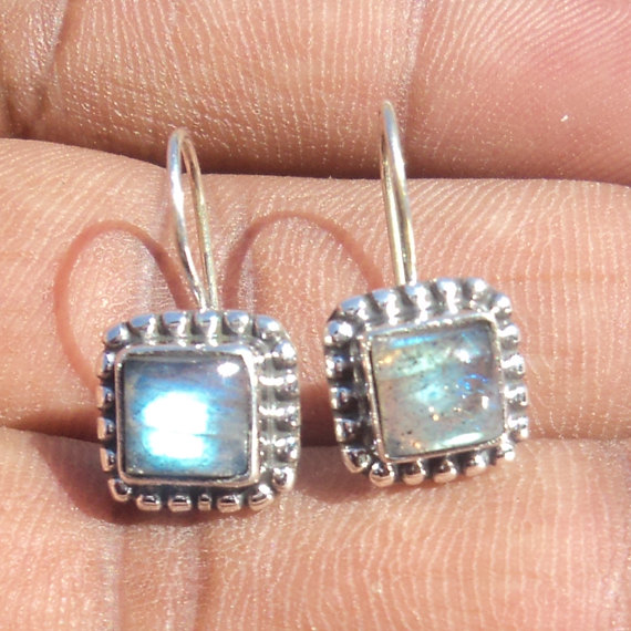Natural Cab Labradorite Gemstone Earrings Birthstone Earrings  Bezel Set Handmade Earrings  Designer Earrings