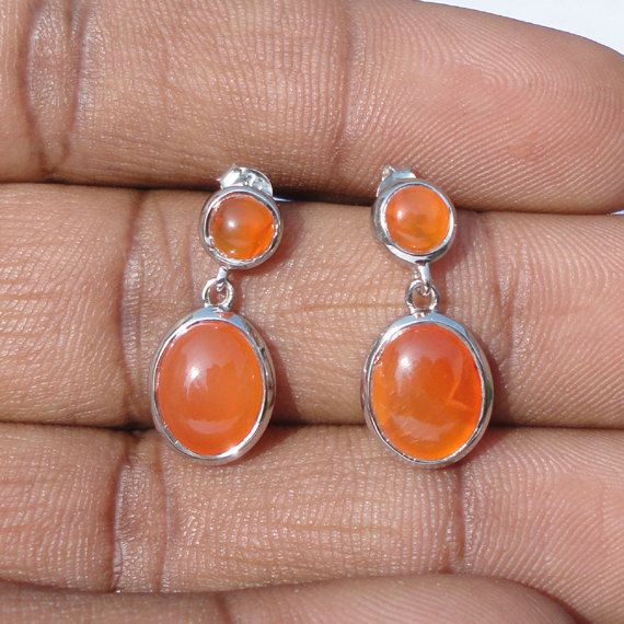 Natural Carnelion Gemstone Earrings - Birthstone Earrings - Bezel Set Handmade Earrings - Valentine's Earrings