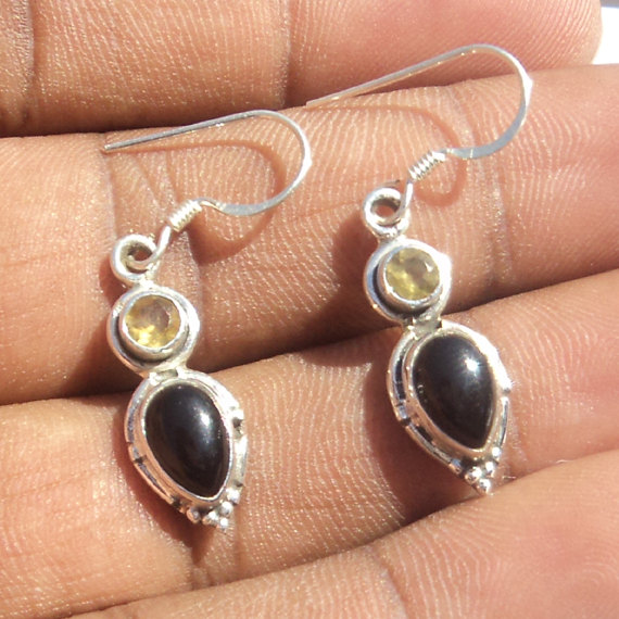 Natural Citrin Black onyx Gemstone Earrings Birthstone Earrings Bezel Set Handmade Earrings  Designer Earrings