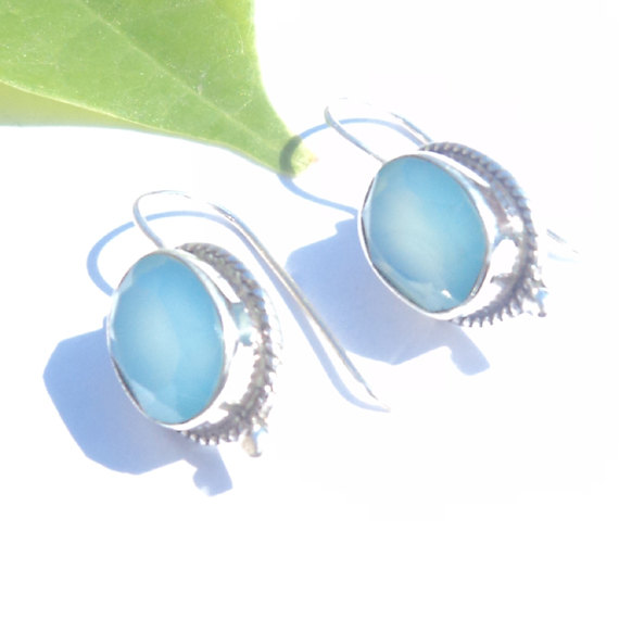 Natural Cut Blue Calcidony Gemstone Earrings Birthstone Earrings  Bezel Set Handmade Earrings  Designer Earrings