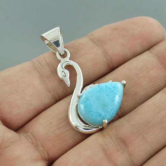 Natural Dominican Larimar Gemstone Pendant, 925 Sterling Silver Duck Shape Pendant, Prong Set Gift Pendant, Unique Gift Jewelry