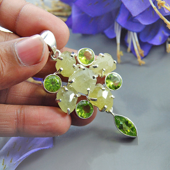 Natural Faceted Rough Prehnite & Peridot Gemstone Sterling Silver Green Gemstone Pendant - Prong Bezel Artisan Pendant