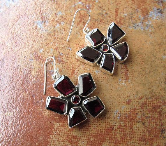 Natural Garnet Sterling Silver Earrings, Gemstone Jewelry, 925 Sterling Silver Earring, Red Dangle Earrings
