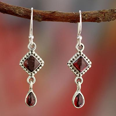 Natural Garnet and Sterling Silver Earrings Indian Jewelry, 'Fire of Love'