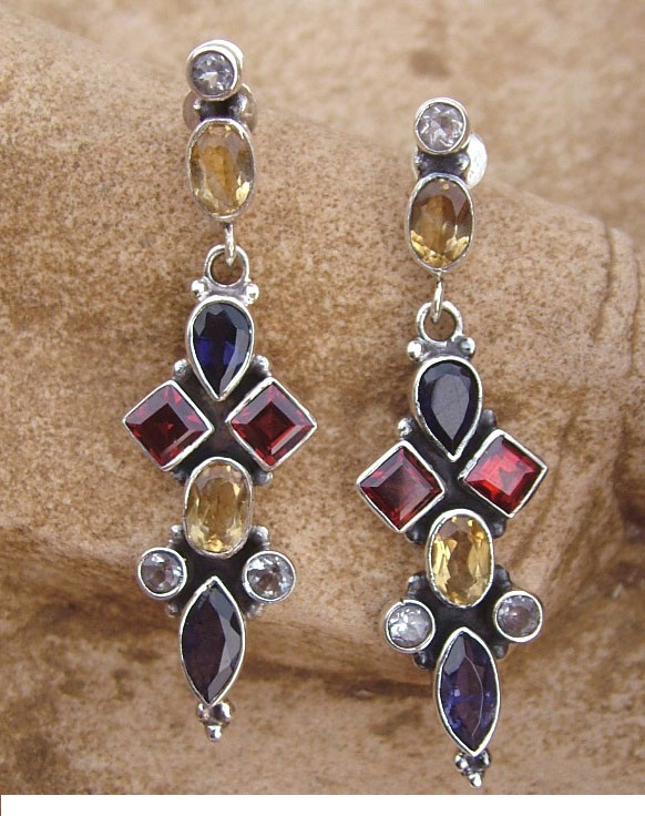 Natural Gemstone Earrings Handmade with Sterling Silver, 'Regent