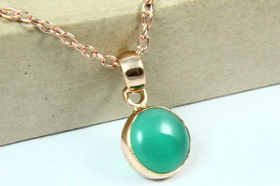 Natural Green Onyx Necklace, Green Onyx Pendant, Gemstone Necklace, 18K Rose Gold Plated, Rose Gold Necklace, Gemstone Jewelry