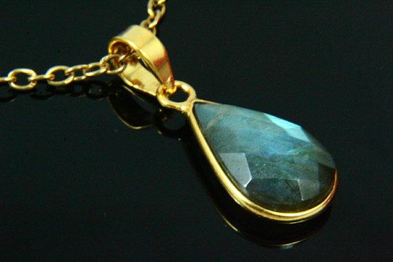 Natural Labradorite Necklace, Labradorite Pendant, Gemstone Necklace, Labradorite Jewelry, Gold Plated, Gold Necklace, Gemstone Jewelry