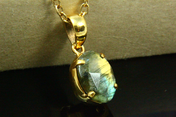 Natural Labradorite Necklace, Labradorite Pendant, Gemstone Necklace, Labradorite Jewelry, 14K Gold Plated, Gold Necklace, Gemstone Jewelry